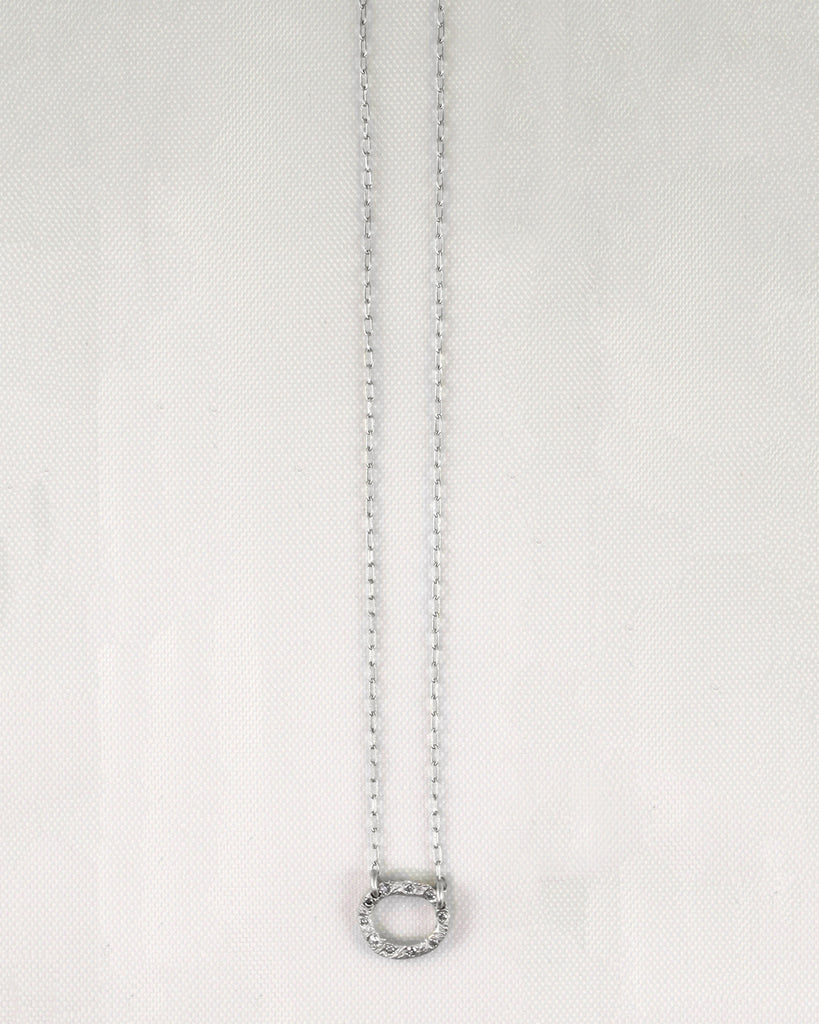 Bark Oval Diamond Necklace 10