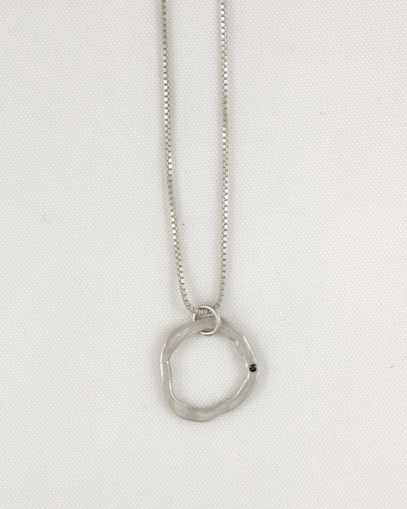 Small Flat Round Necklace with Black Diamond 1