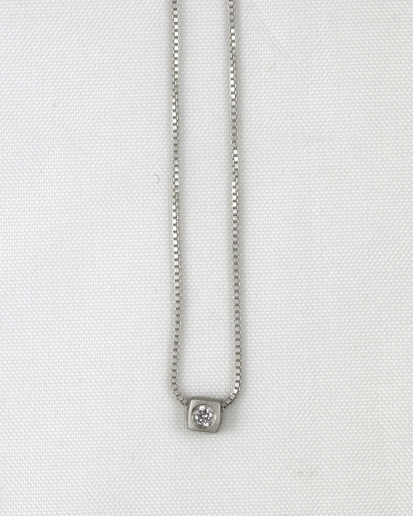 14pt Square Bezel Diamond Necklace