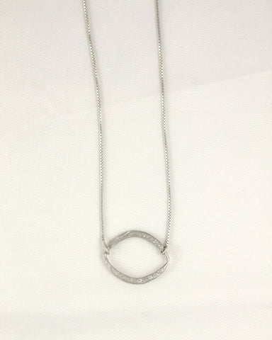 Horizontal Moon Oval Necklace