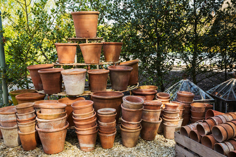 Stacks of terracotta pots