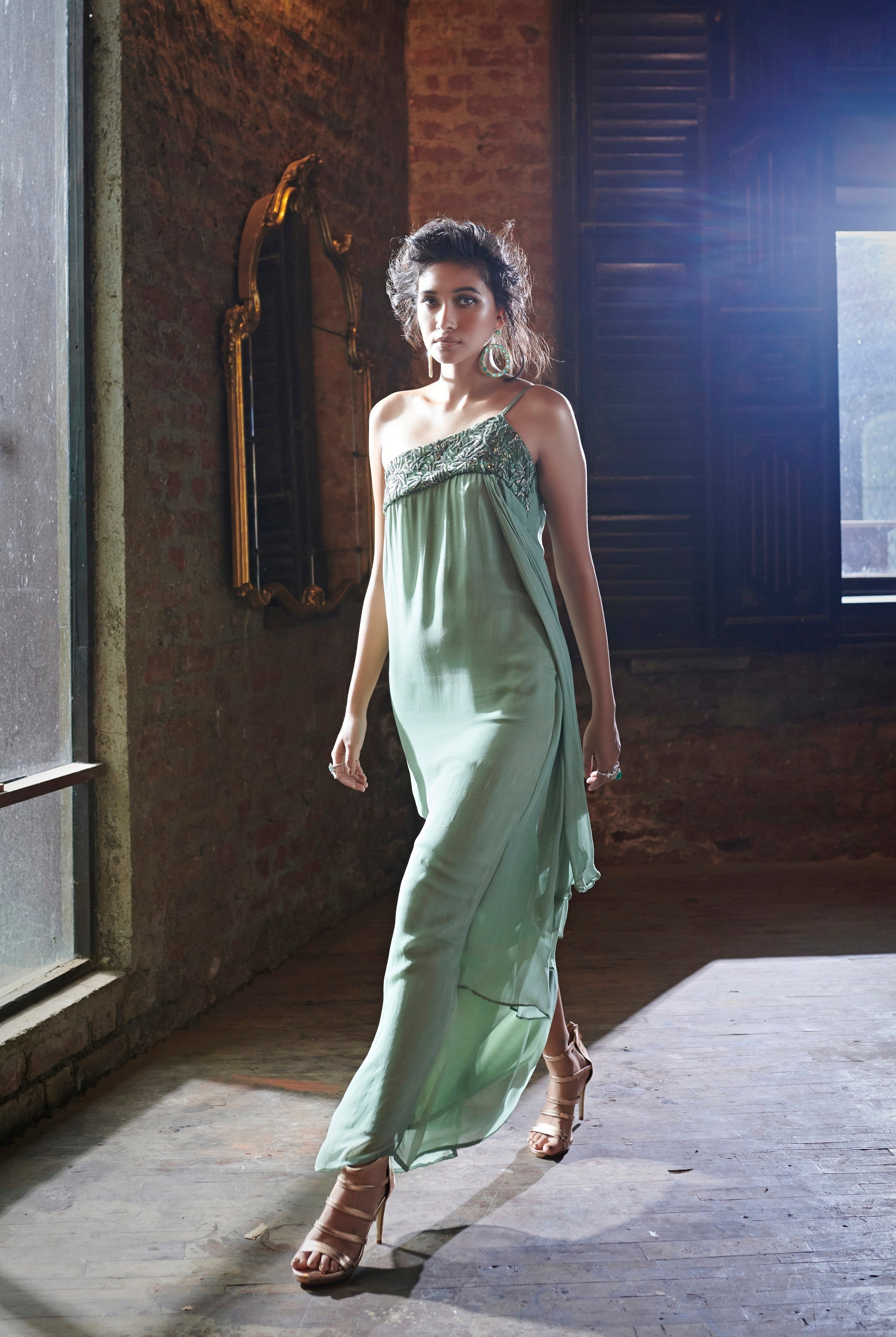One Shoulder Midi Gown