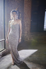 Load image into Gallery viewer, Off Shoulder Beaded Work Gown