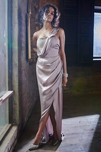 One Shoulder Draped Dress with Hand Work