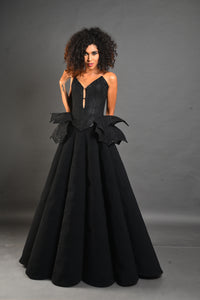 Structured gown with Angel Wings