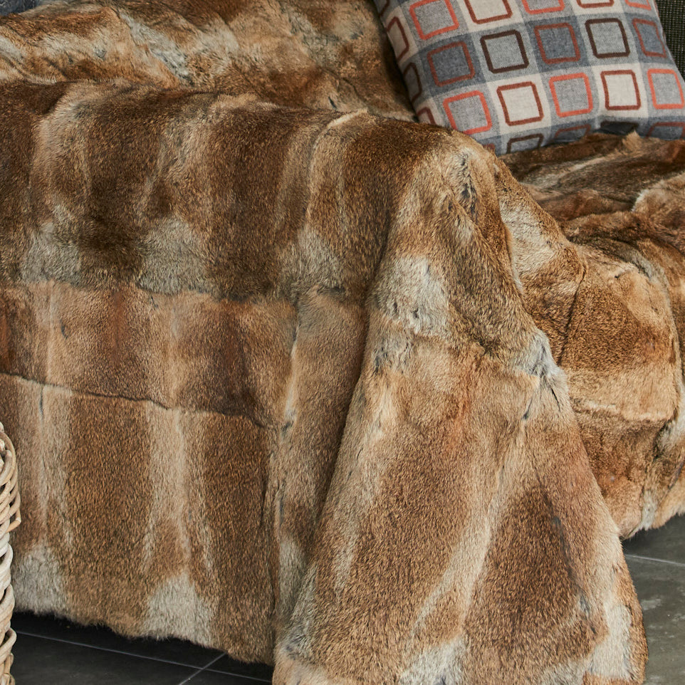 Luxury rabbit fur throw