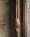 Rustic oak light pull with hemp cord-acorn/beehive