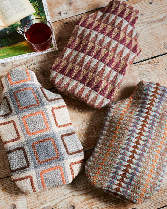 100% merino lambswool retro hot water bottle covers.