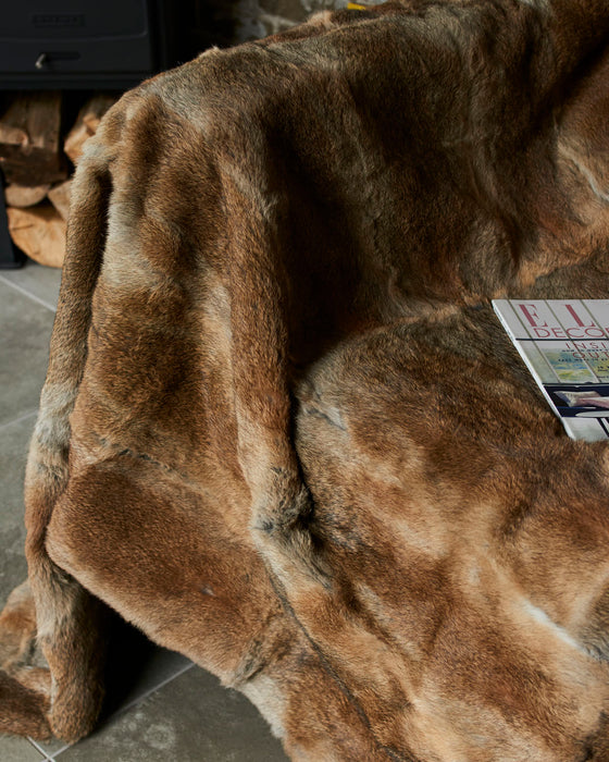 Beautiful luxurious full rabbit fur throw