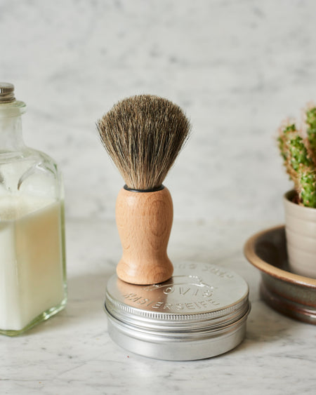 Luxury shaving brush- Badger bristle mounted in beechwood