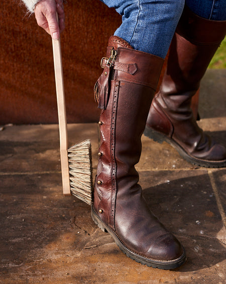 long handled boot brush in untreated beech