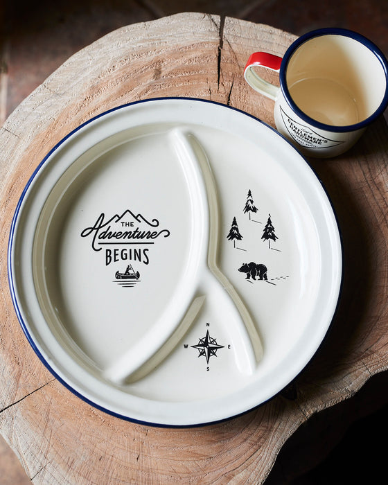 Classic enamel camping & glamping adventure tin plate.