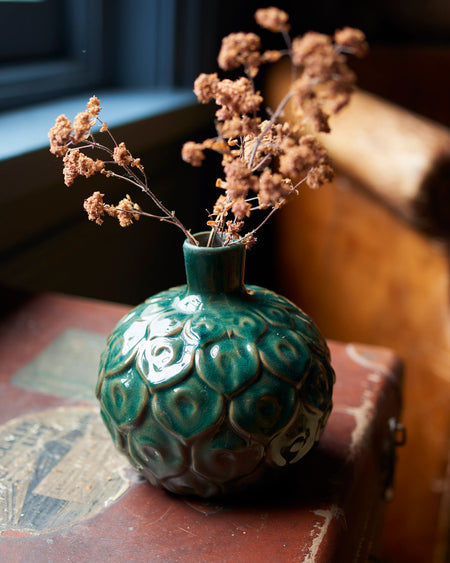 Green glazed ceramic stem vase - Peacock