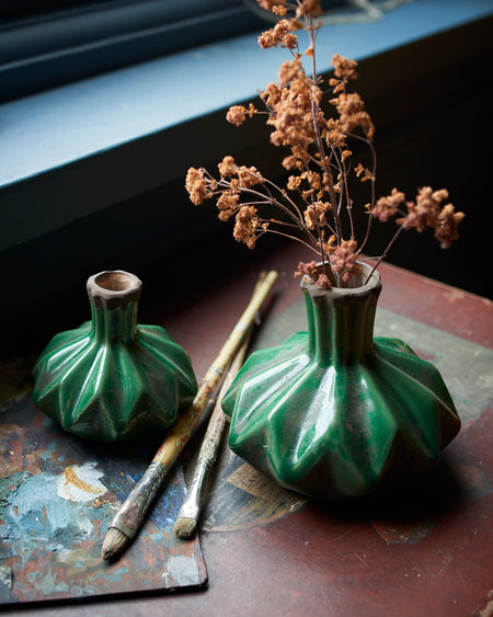 Green Glazed Ceramic Vases - Lotus Bud