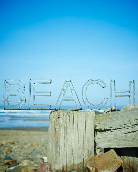 "3D Galvanised metal wire beach signs. Beach/Surf""s Up."