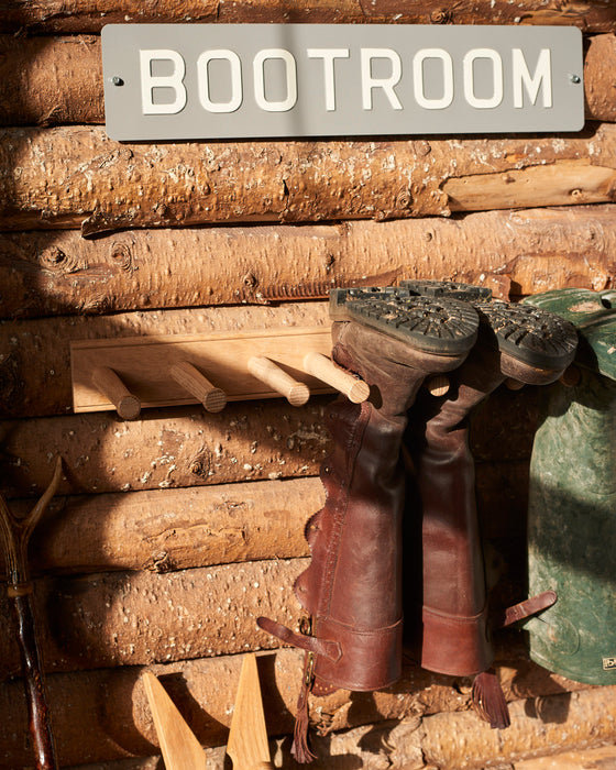 Oak wall mounted Wellington boot rack - 3 pairs of boots