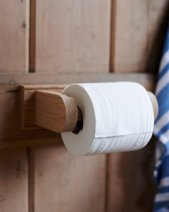 Handmade Oak loo roll holder.
