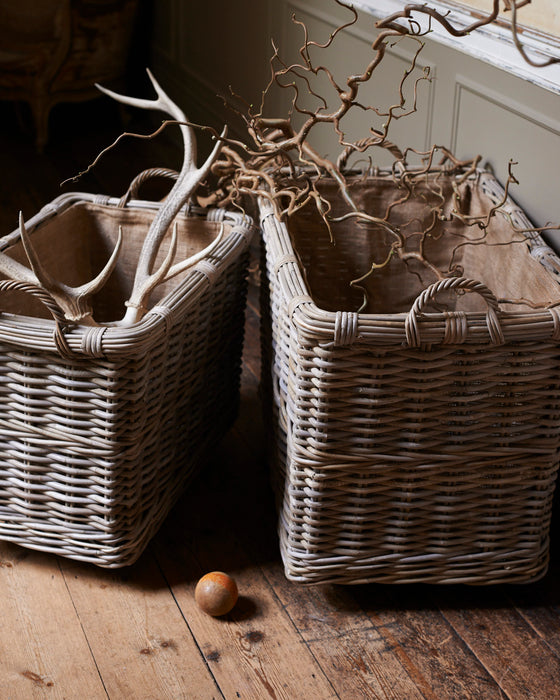Rectangular rattan log baskets with hessian liner- Coaster wheels  (238)