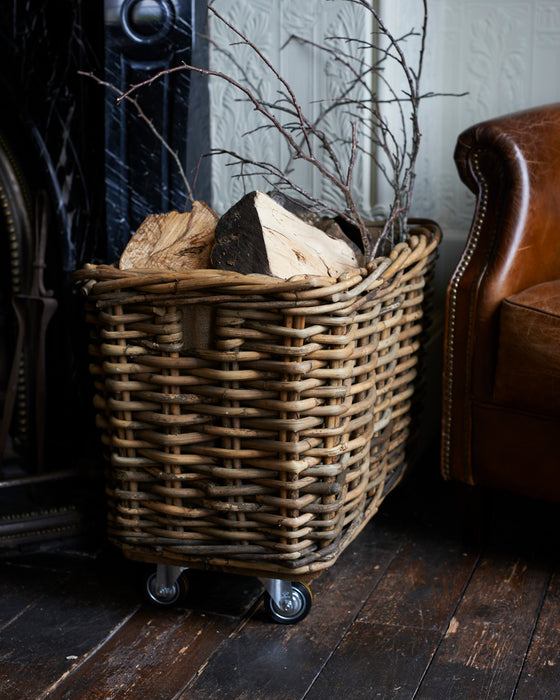 Large rectangular rattan Log basket- coaster wheels - 210