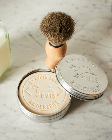 Sheep's milk shaving soap in retro aluminium tin.