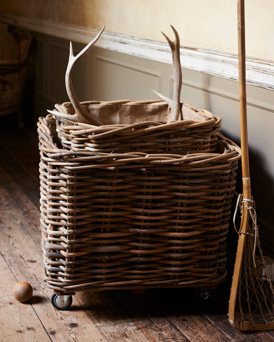Large square rattan log basket on wheels