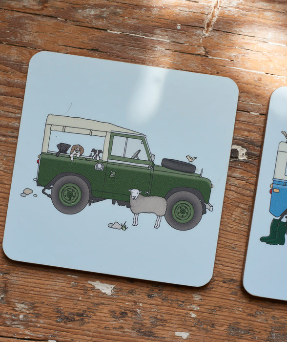 Classic Series2/3 Land Rover drinks coaster.