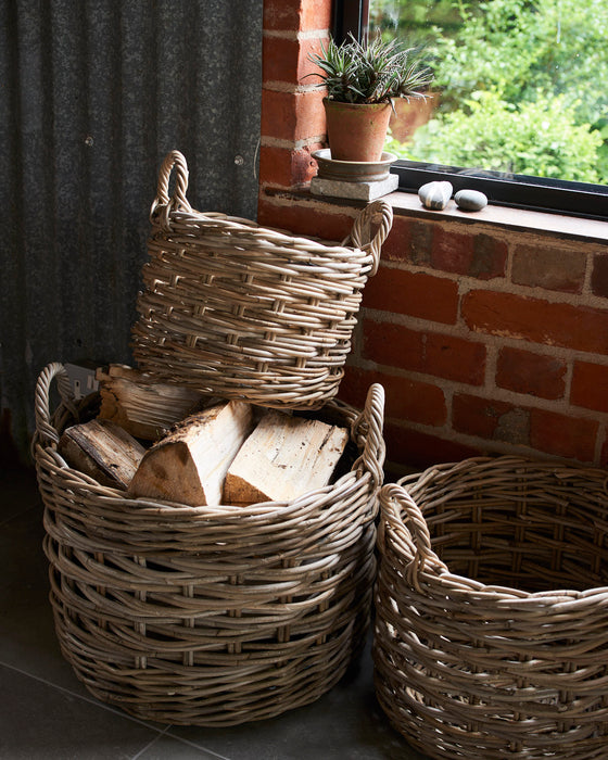 Set of 3 round rattan baskets with ear handles