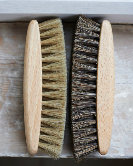 Luxury horsehair shoe shining brushes in beechwood