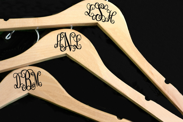 Personalized Monogram Wedding Party Hangers