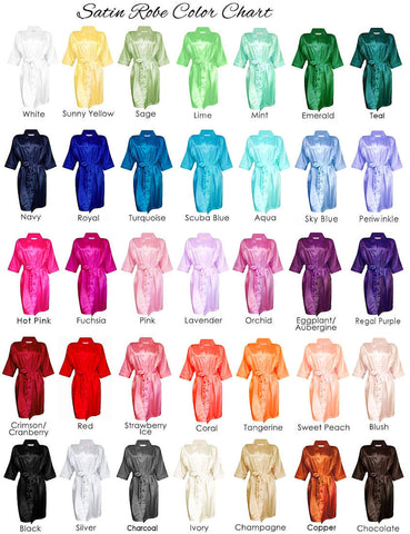 Silky Satin Blank Bridal Party Robes - Plus Size