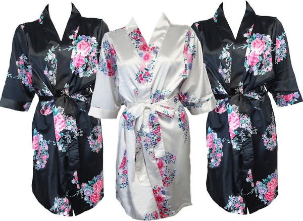 Satin Floral Blank Bridal Party Robes