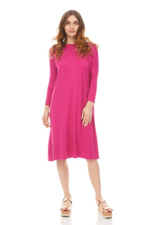 3/4 sleeve Tunic Dress Solid Jersey