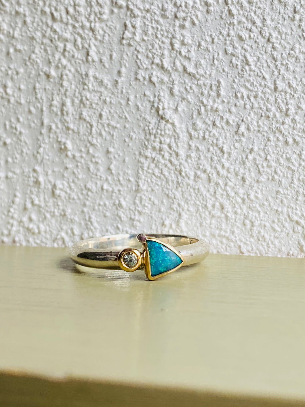 Three Points Opal Sapphire Ring