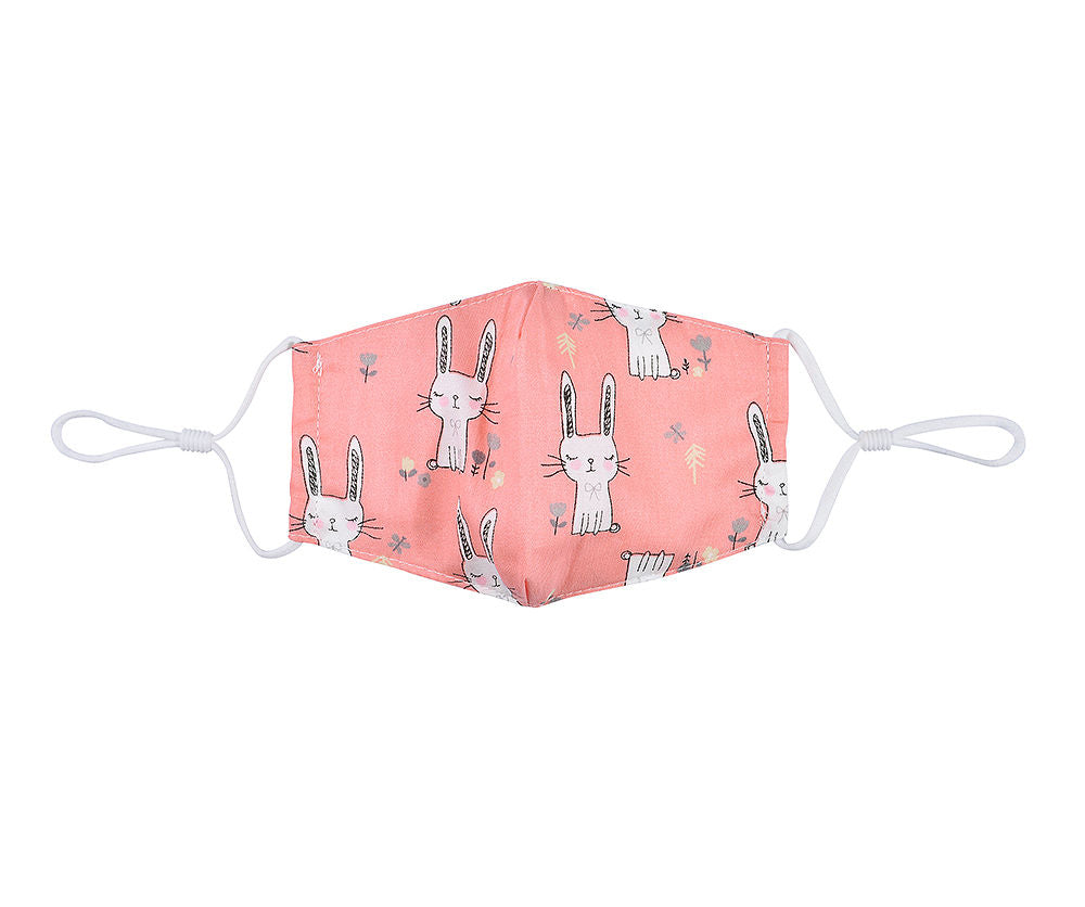 Childs pink rabbit face mask