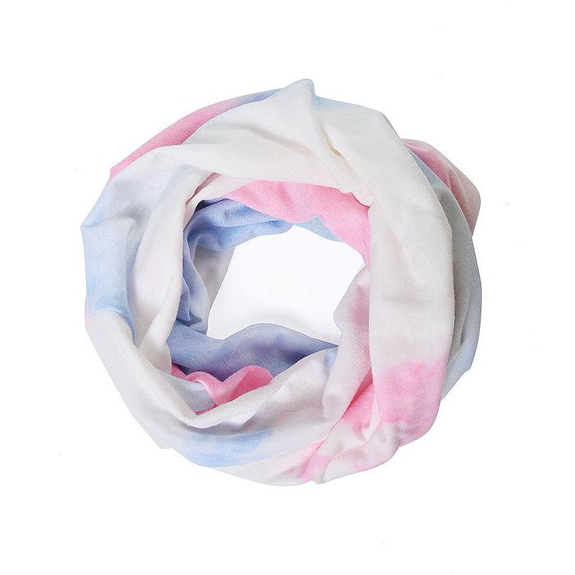 White dusky pink and blue tie dye snood face covering