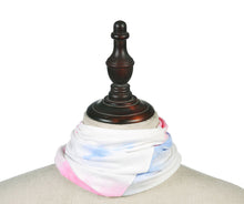 Load image into Gallery viewer, White dusky pink and blue tie dye snood face covering