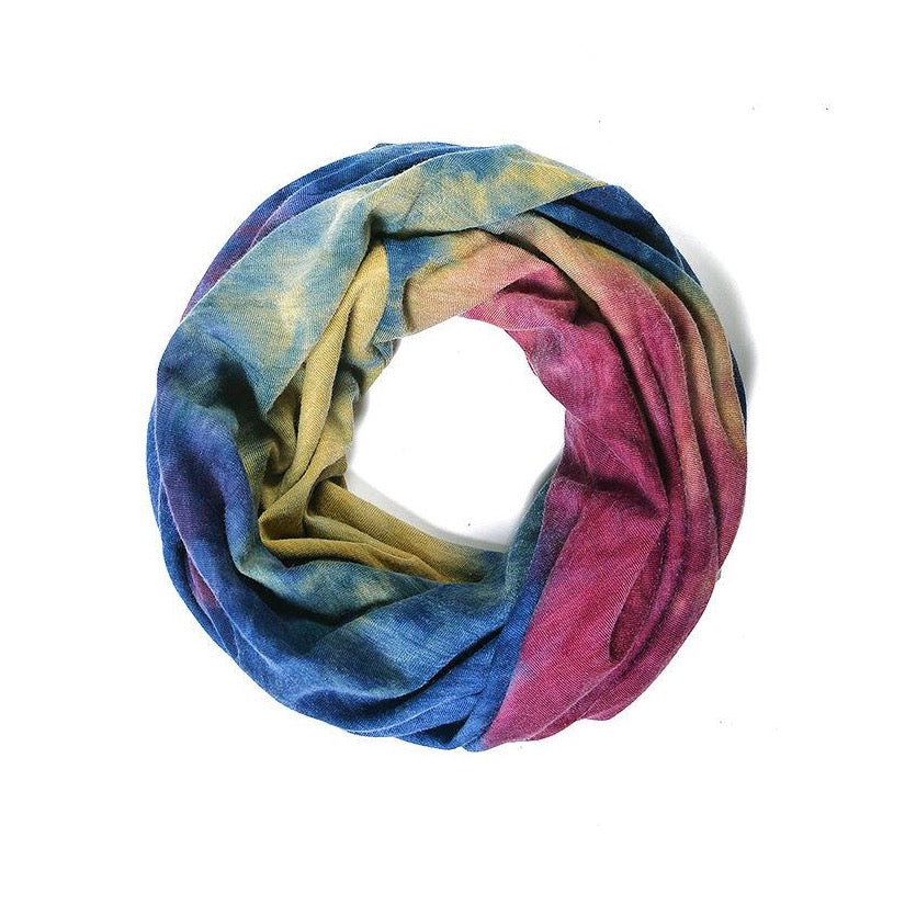 Navy, plum and mustard tie dye snood face covering