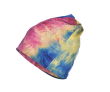 Load image into Gallery viewer, Navy, plum and mustard tie dye snood face covering