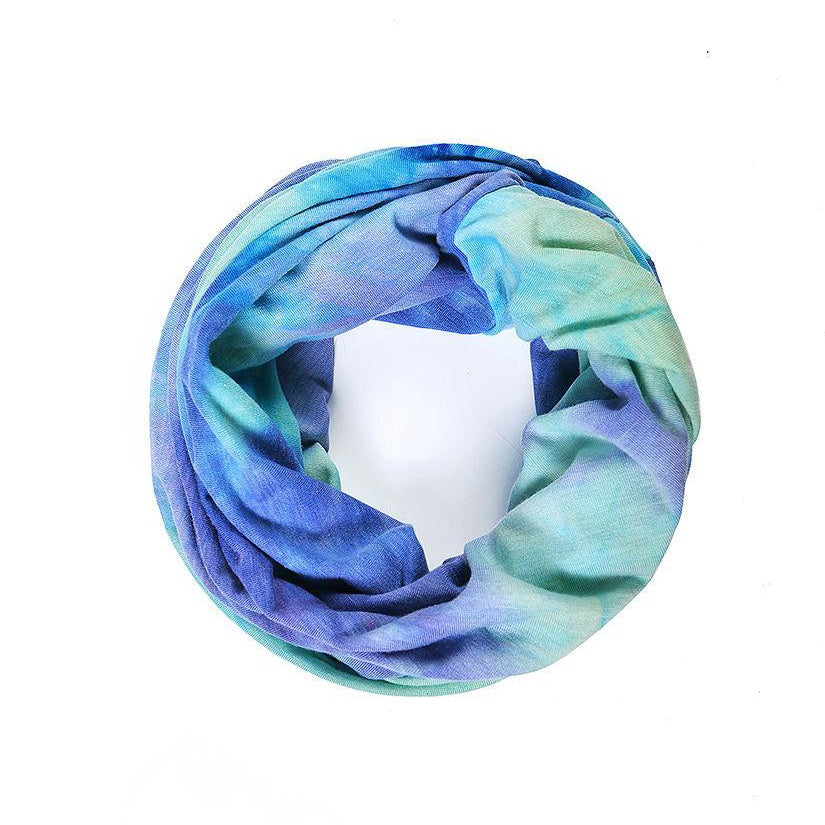 Beautiful blues tie dye snood face covering