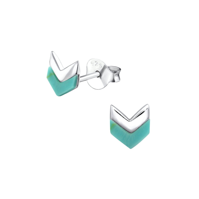 Silver turquoise chevron stud earrings
