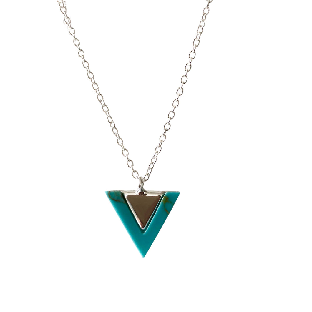 Turquoise silver triangle necklace
