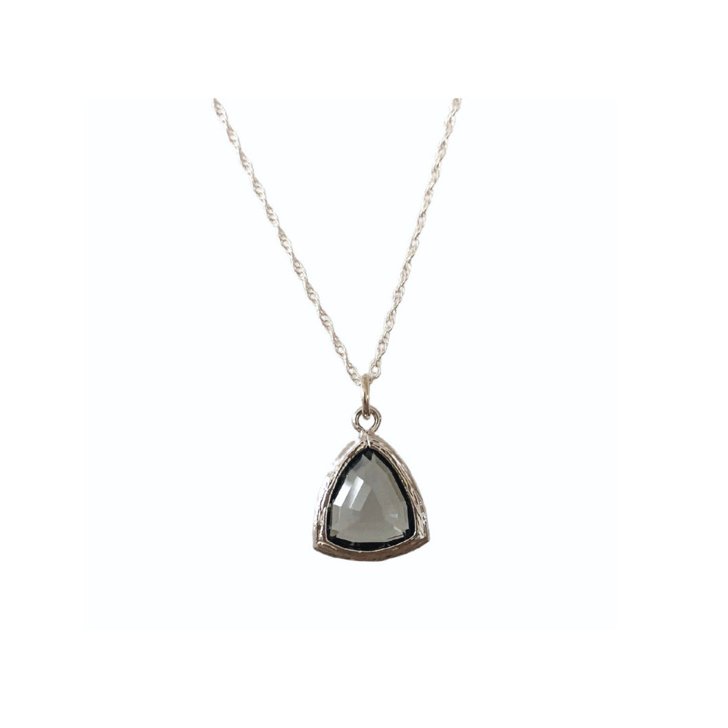 Grey silver framed glass stone necklace