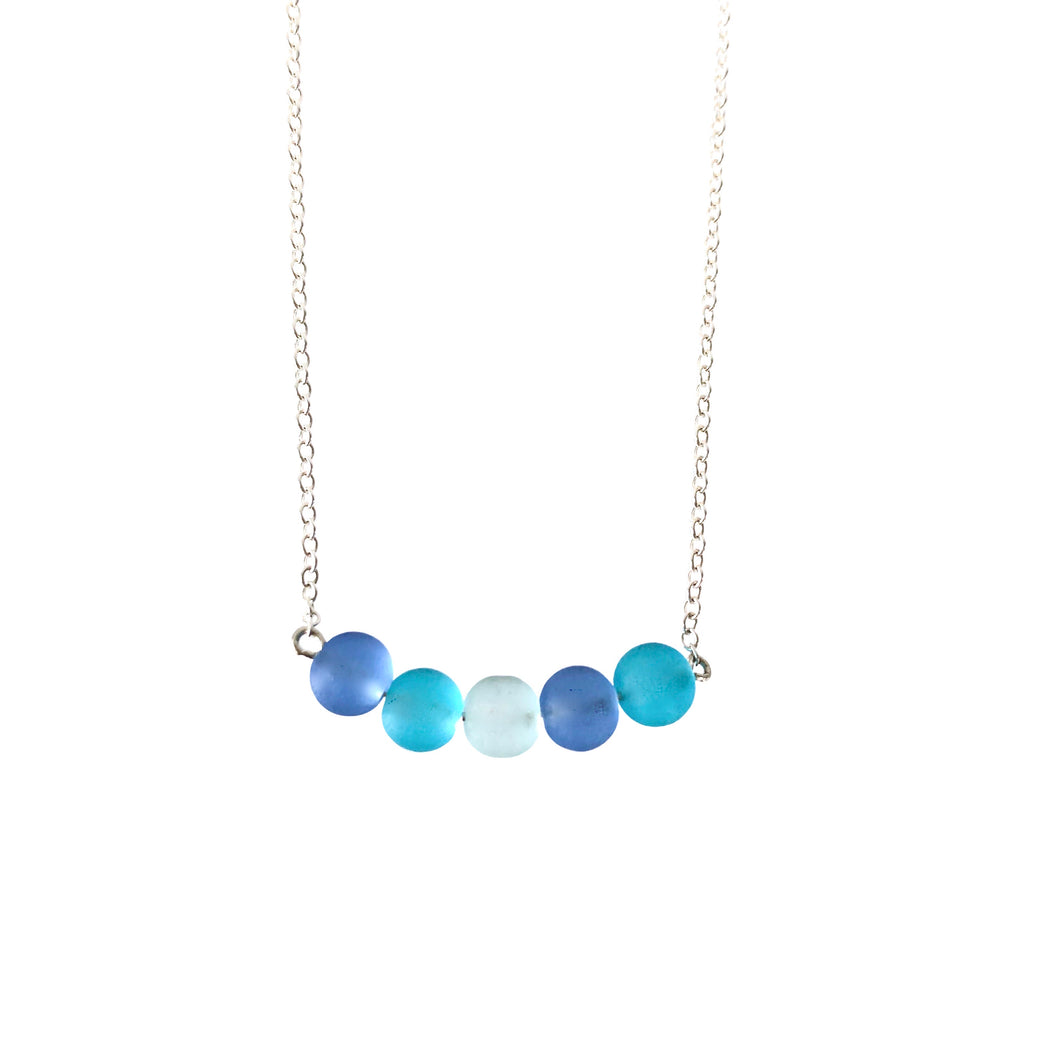 Sea glass blue bar necklace