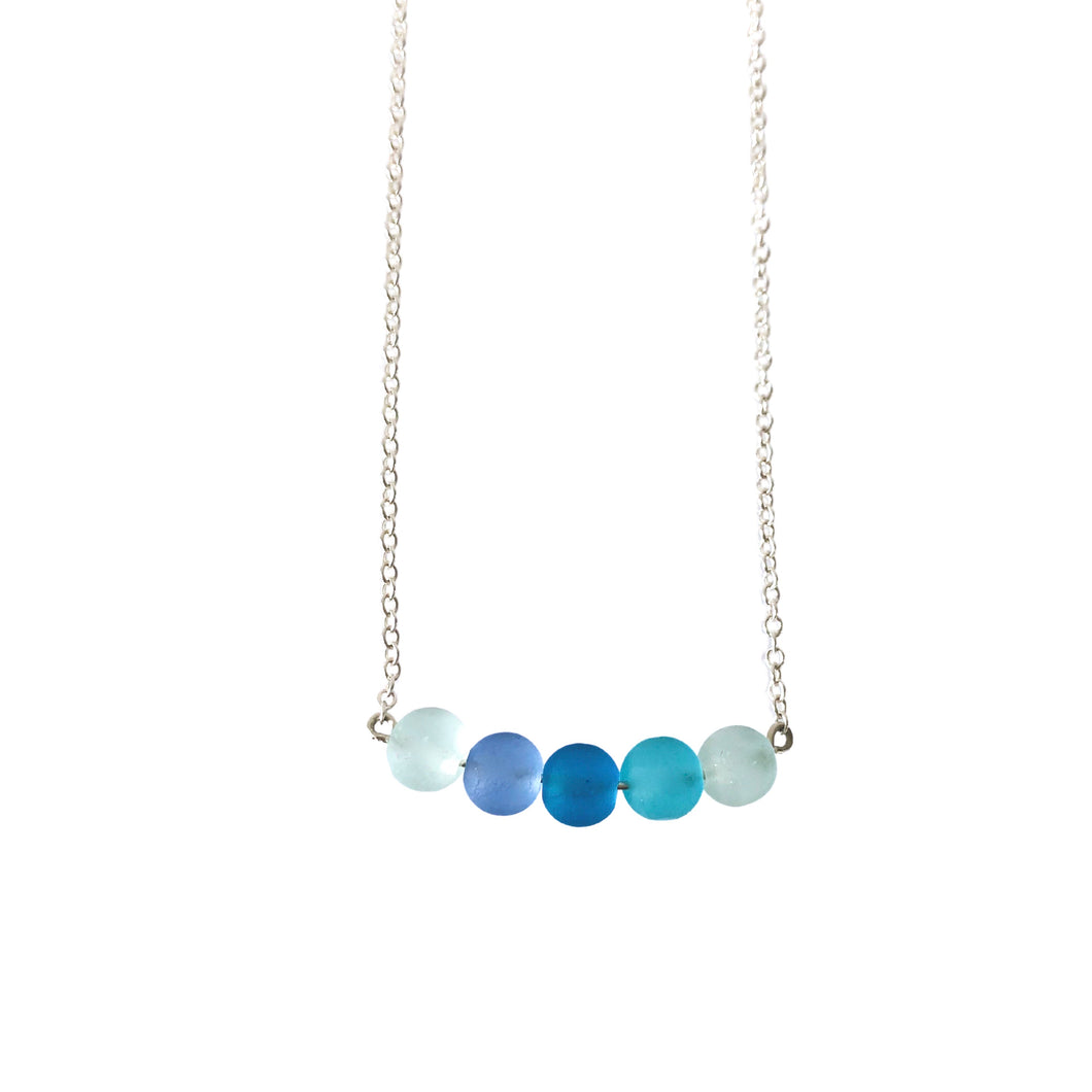 Sea glass mix bar necklace