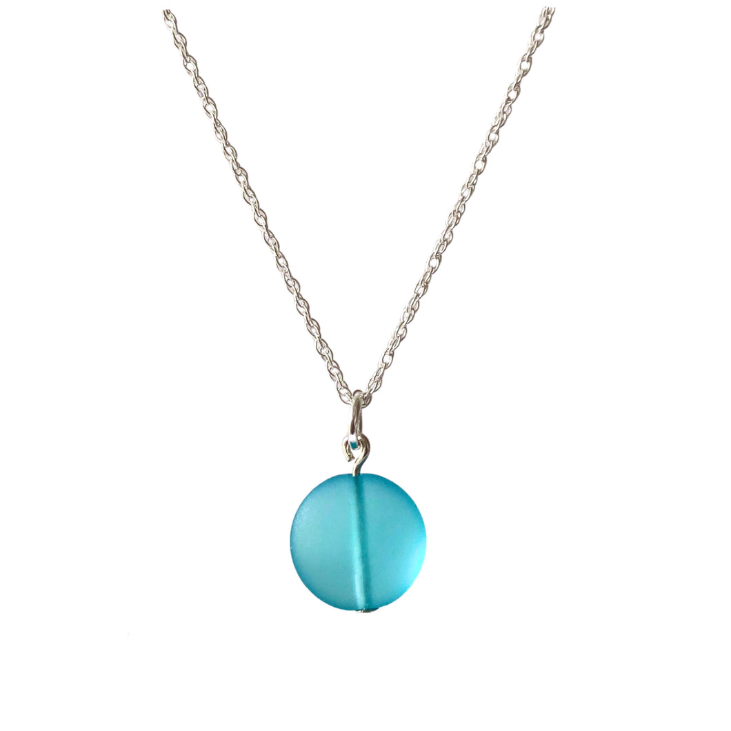 Light aqua sea glass pebble necklace