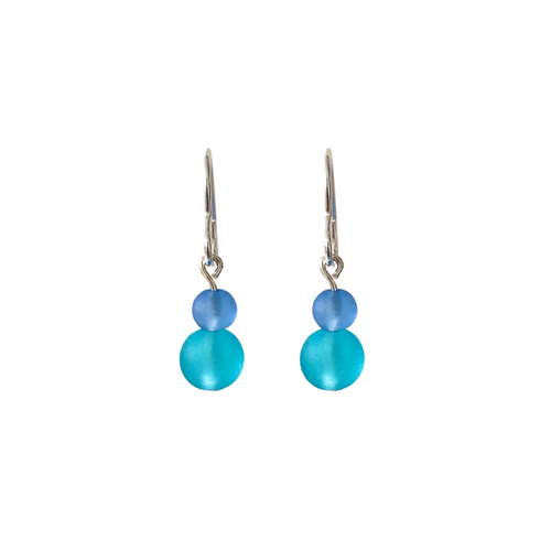aqua sea glass drop earrings