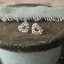 Load image into Gallery viewer, Crystal silver sparkle heart stud earrings