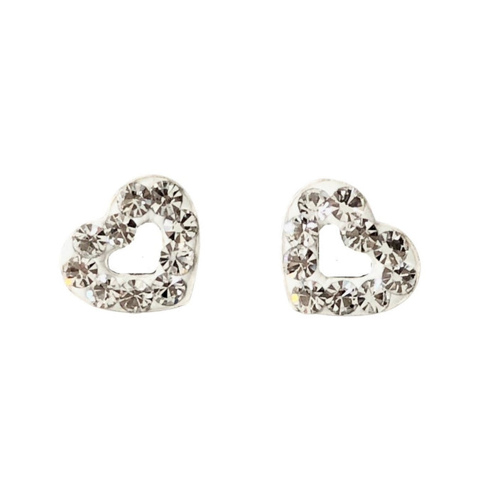Crystal silver sparkle heart stud earrings