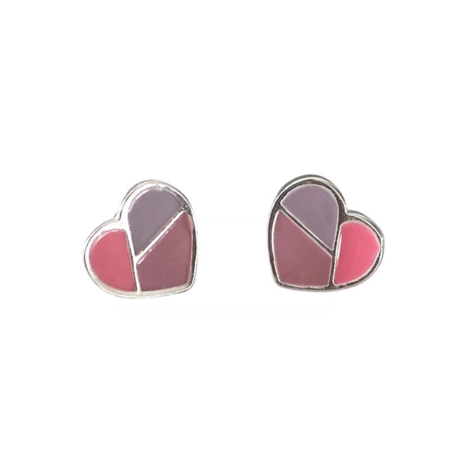 Dusky pink and mauve silver heart stud earrings