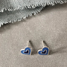 Load image into Gallery viewer, Funky heart blue and silver earrings